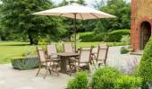Комплект #3 стол прямоугольный + 6 кресел + зонт