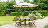 Комплект #5 стол + 4 кресла с подушками + зонт