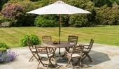 Комплект #9 стол круглый + 6 кресел с подушками + зонт