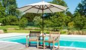 Комплект #14 из двух стульев с подушками, столиком и зонтом
