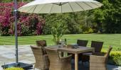 Комплект #5 cтол прямоугольный деревянный + 6 кресел + зонт