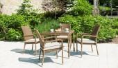 Комплект #16 стол квадратный + 4 кресла с подлокотниками