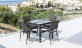 Комплект #4 стол квадратный + 4 кресла с подлокотниками
