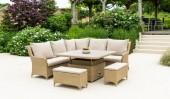 Комплект #3 диван угловой + стол + 2 пуфа