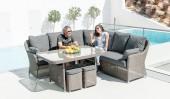 Комплект #7 стол + диван угловой + 2 пуфа